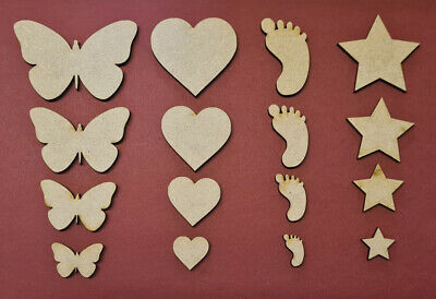 Wooden MDF Shapes Butterfly Feet Heart Star , Craft Embellishments • 0.99£