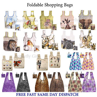 Reusable Foldable Ladies Shopping Bag Eco Animal Tote Handbag Fold Away Premium • 4.95£