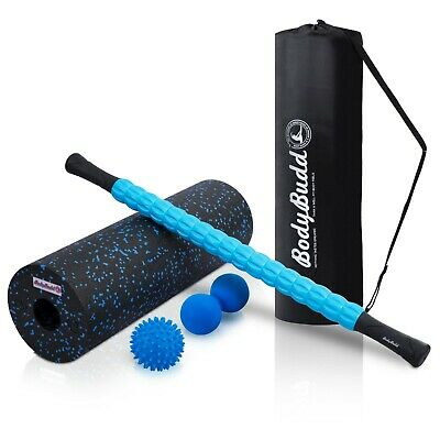 AU51.65 • Buy Foam Roller Set With Muscle Massage Stick, Large Peanut Ball & Rubber Spiky Ball