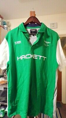 Aston Martin Racing GT 1959 24hr Team Hackett Green Polo Shirt Size XXL 46 Chest • 24.99£