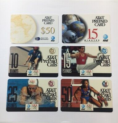6 AT&T Prepaid Phone Cards 1996 Olympics Diners Club Rare (7181) • 59.30£