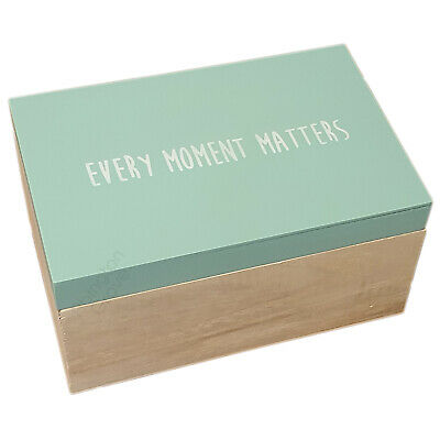 Large Mint Green Wooden Memory Box Keepsake Baby Photo Memories Storage New Gift • 11.99£