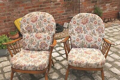 2 Vintage Elm Ercol Windsor Armchairs 203 Style 80s Stick Back • 300£
