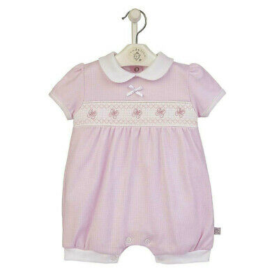 £14.95 • Buy Baby Girl Short Summer Rompers Pink Smocked All In One Spanish Romper Suit 0-12m