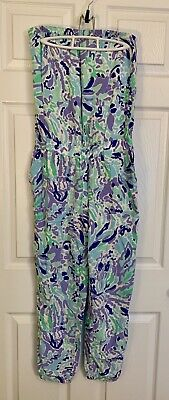 $50 • Buy Lilly Pulitzer Emiko Strapless Jumpsuit Romper Lilac Nice Ink Sz M