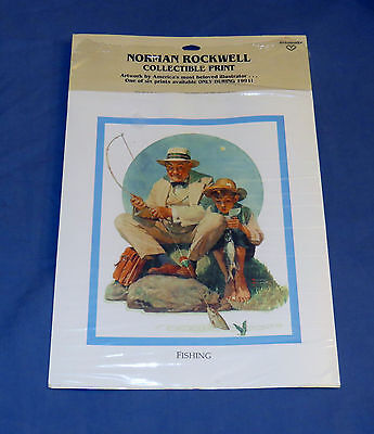 $ CDN13.14 • Buy Norman Rockwell Collectible FISHING Print 8x10 Matted On Canvas Ready To Frame