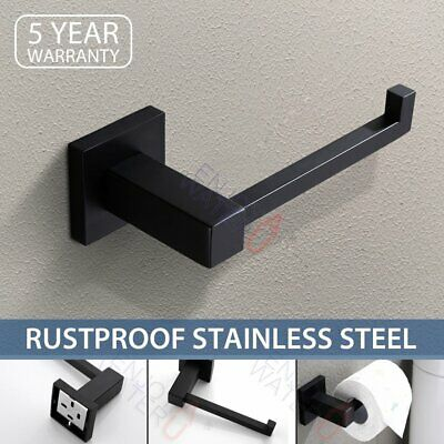 AU20.98 • Buy Toilet Paper Roll Holder Hook Hanger Square Black SUS304 Wall Mounted Bathroom