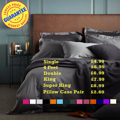 Fitted Sheet Bed Sheets 100% Poly Cotton Single 4FT Double King Super King Size • 2.99£
