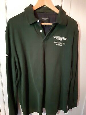 Hackett Long Sleeved Rugby Shirt Top Aston Martin Racing Green M Medium • 65£