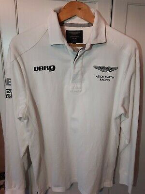 Hackett Long Sleeved Rugby Shirt Top Aston Martin Racing White Medium Rare DBR9 • 65£
