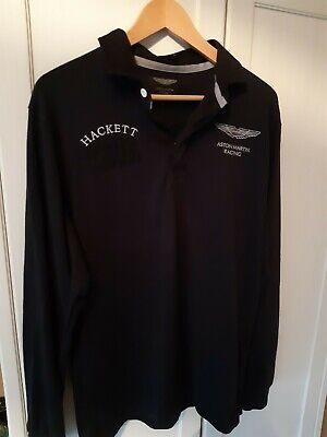 Hackett GB Long Sleeved Rugby Shirt Aston Martin Racing Black Rare DBR9 Medium • 65£