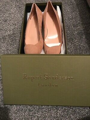 Rupert Sanderson Pink Suede AGA Pointed Toe Flat Court Shoes- Brand New In Box • 75£