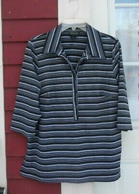 $8.99 • Buy Lane Bryant Black/White Striped 3/4 Sleeve Henley Stretchy Knit Top Size 18/20
