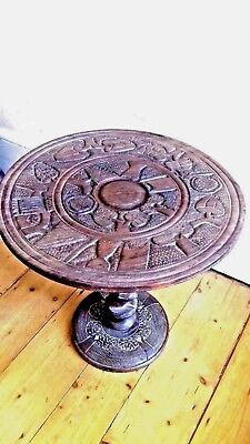 African Hand Carved Round Table • 99£