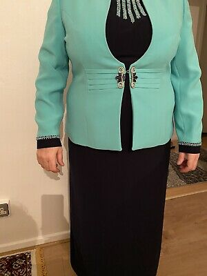 Modest Dress Abaya Navy Green Embellishment Jacket And Dress Party Wed Prom New • 79.99£