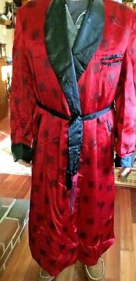 $75 • Buy Vintage 40s 50s Exclusive Of Ornamentation Mens Robe Dressing Gown -Red & Black