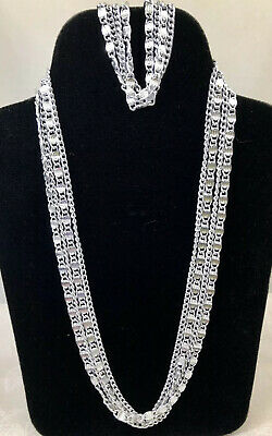 $14.99 • Buy Sarah Coventry Silver Tone 4 Chain Strand Paperclip Necklace And Bracelet Set
