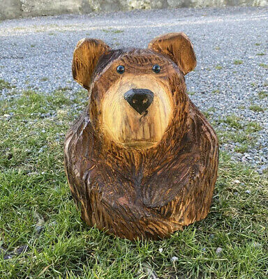 Chainsaw Carved Bear Bust Carving Animal Garden Decorations • 40£