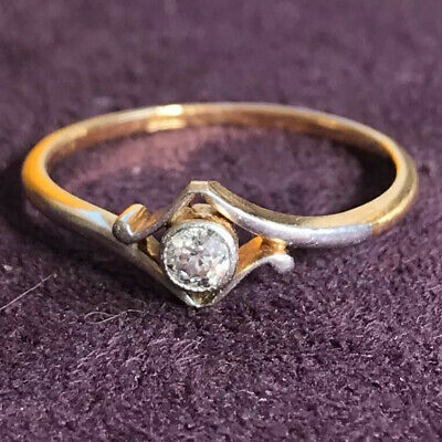 18ct 750 Gold Diamond Solitaire Vintage Ring Size O • 149£