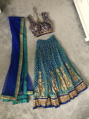 £110 • Buy Indian Pakistani Wedding Party Lengha Blue And Gold Size 8/10