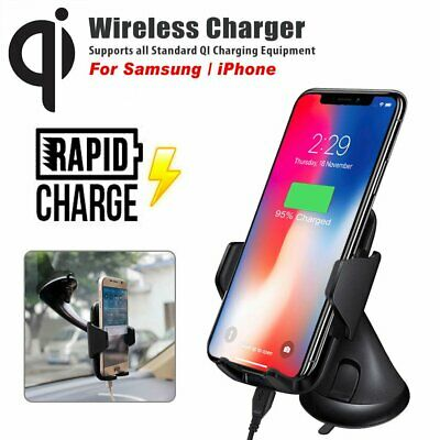AU25.99 • Buy Qi Wireless Car Charger Mount Fast Charging Holder For IPhone 11 Samsung S10 S20