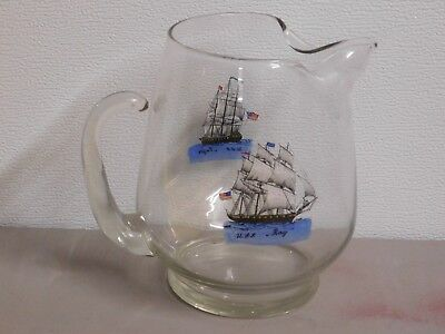 $29.50 • Buy VINTAGE ANTIQUE HAND  PAINTED  GLASS  NAUTICAL SHIPS Decorated Pitcher
