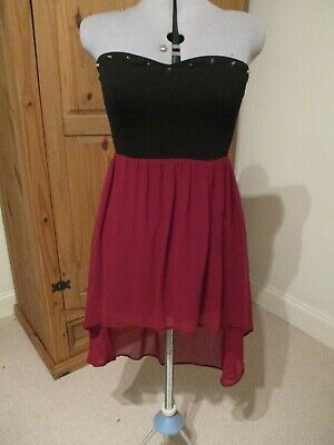 £5 • Buy Hearts And Bows Strapless High Low Midi Dress Black/red + Stud Detail Size S/m