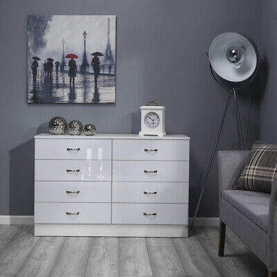 White Gloss 8 Drawer Bedroom Furniture Chest Of Drawers Wood Grain Effect Frame • 120£