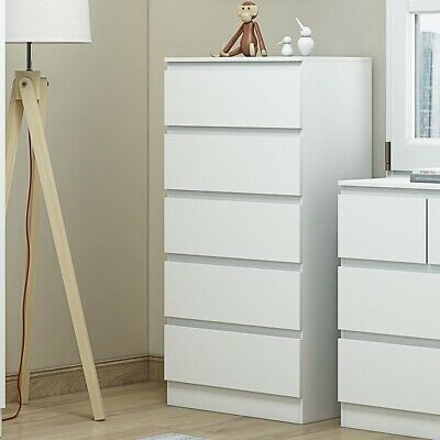 Extra Tall 5 Drawer Bedroom Chest Of Drawers. Matt White Finish. 121cm Tall • 105£