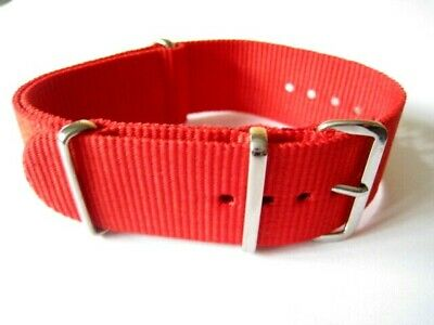 £3.95 • Buy Red Nylon Military Style Watch Strap. 20mm, 22mm & 24mm Fast Delivery From UK