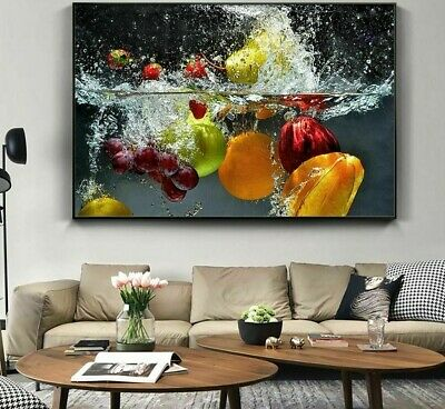 AU46.49 • Buy Fresh Fruit Vegetables Wall Posters Home Kitchen Decor Living Canvas Paintings