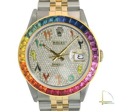 $ CDN10786.92 • Buy Rolex Datejust Mens 36mm Two-Tone Diamond Pave Dial Arabic Numbers Rainbow Bezel