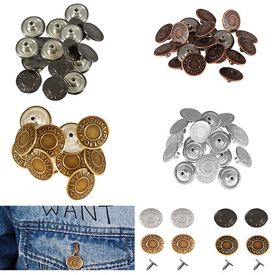 £2.95 • Buy Denim Replacement Hammer On Jeans Buttons Brass Studs DIY Jacket Trousers