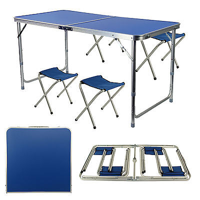 Portable Folding Table With 4 Chairs Set For Camping Party Picnic Garden Dining • 23.39£