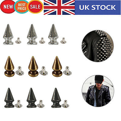 Punk Spike Cone Spots Thin Studs Rivets 12mm For DIY Leathercrafts Clothes Shoes • 3.45£
