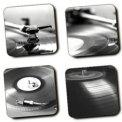 Vinyl Records Music Retro Record Player Coasters - Set Of 4 - Hardboard - Gift • 7.99£