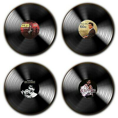 Elvis Presley Albums Vinyl Themed Coasters - Raised On Rock Memphis - Wood - X4 • 8.99£