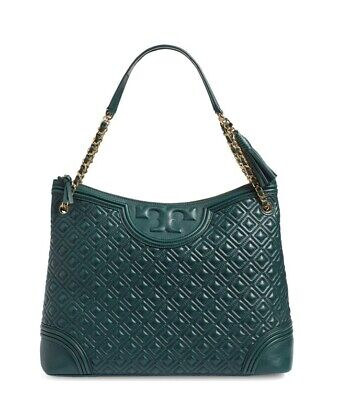 $175 • Buy TORY BURCH Flemming Tote Quilted Norwood Green Hand Bag $595