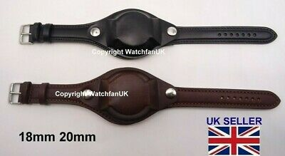 £22.99 • Buy Premium Quality Military Style Leather Watch Strap With Cover 18MM 20MM