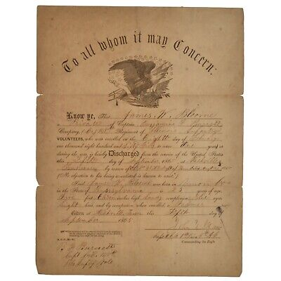 $125 • Buy Civil War Discharge Paper 148th Illinois Regiment 1865 Infantry Bloome