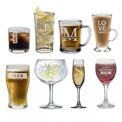 Personalised Glass Engraved Drinkware Gift Your Own Message Glassware Birthday • 7.99£