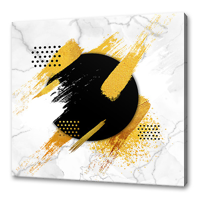 £19.99 • Buy Gold Brush On Marble Modern Canvas Print Picture Wall Art Free Fast Delivery