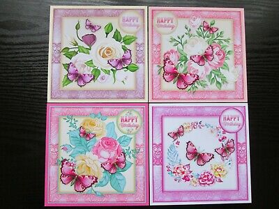 BUMPER SET ---- 4 X  Happy Birthday FLORAL Card Toppers---SET 1 • 1.99£