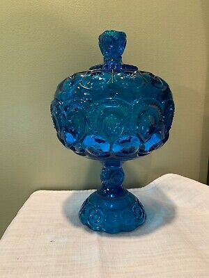 $8.99 • Buy HTF Huge Blue L E Smith Moon And Stars Covered Compote Pedestal Candy Dish + Lid