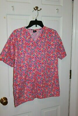 $4.99 • Buy Barco Scrubs - Women's Pink  Hearts Small Scrub Top  Nursing CNA Vet Medical
