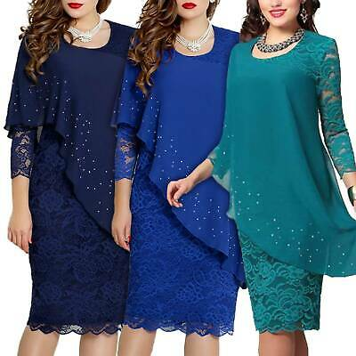 AU53.49 • Buy Womens Lace Long Sleeve Formal Evening Party Cocktail Slim Midi Dress Plus Size