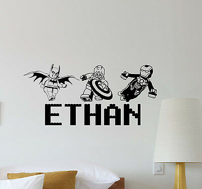 Personalized Lego Wall Decal Superhero Playroom Decor Custom Vinyl Sticker 550 • 21.72£