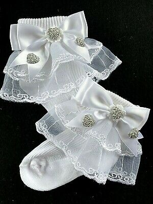 £5.50 • Buy Girls-special Occasion-white Lace Ankle Socks-diamantes-bows-flower Girl-wedding