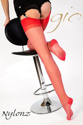 GIO RHT Stockings / Nylons - CORAL RED - Imperfects NYLONZ • 8.95£