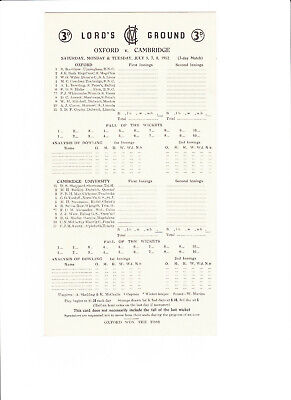 Oxford V. Cambridge July 1952 Lord's Ground Cricket Scorecard • 3.99£
